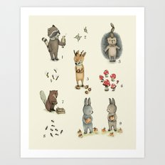 Numbers, Animals and numbers. Art Print