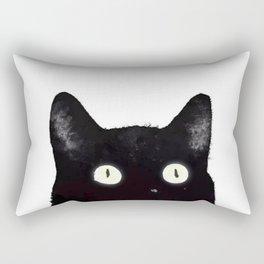 Black Cat Peeking Up Rectangular Pillow