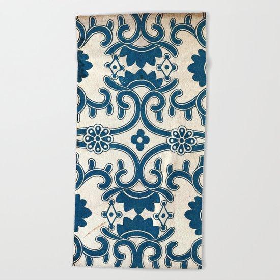 Blue Oriental Vintage Tile 02 Beach Towel