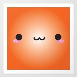 Kawaii Face (Orange) Art Print