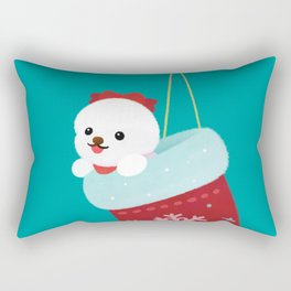 Christmas bichon frise 3 Rectangular Pillow