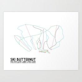 Ski Butternut, MA - Minimalist Trail Art Art Print