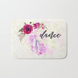 Dance with Ballet Shoes with a Floral Poppy Frame Bath Mat