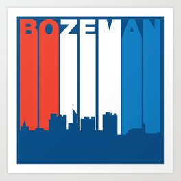 Red White And Blue Bozeman Montana Skyline Art Print