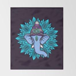 Wise Elephant Ganesha Mandala Throw Blanket