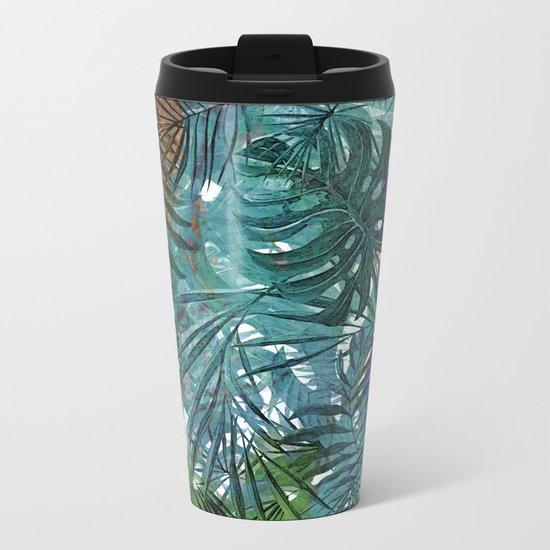 Aloha- Tropical Palm Leaves and Monstera Leaf Garden Metal Travel Mug