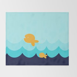 Beach Series Aqua- Gold Fish Animals in the deep See Throw Blanket