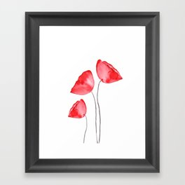 3 red poppies watercolor Framed Art Print