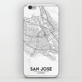 Minimal City Maps - Map Of San Jose, California, United States iPhone Skin