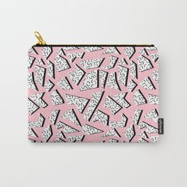 Crunk - throwback retro memphis design style minimal pattern print pink white and black Carry-All Pouch