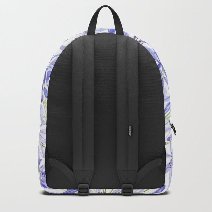 blue purple African lily watercolor painting Backpack