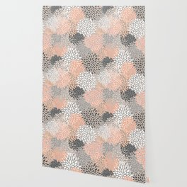 Flowers Abstract Print, Coral, Peach, Gray Wallpaper