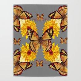 GREY ART BUTTERFLIES & YELLOW SUNFLOWERS NATURE Poster