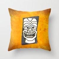 tiki Throw Pillows featuring Tiki by materndesign