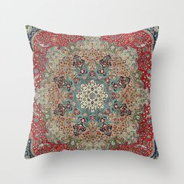 Antique Red Blue Black Persian Carpet Print Throw Pillow