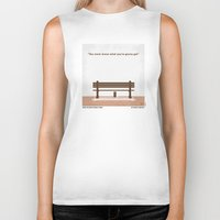 forrest gump Biker Tanks featuring No193 My Forrest Gump minimal movie poster by Chungkong