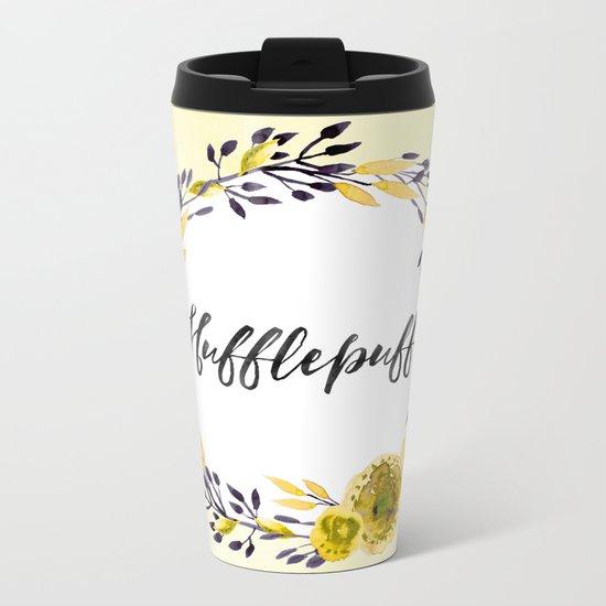 HP Hufflepuff in Watercolor Metal Travel Mug