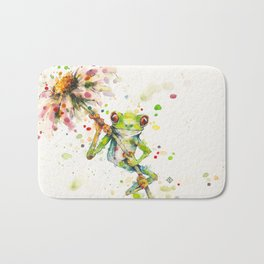 Hello There Bright Eyes (Green Tree Frog) Bath Mat
