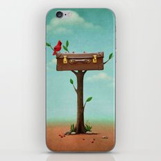 red bird and vintage suitcase on tree iPhone & iPod Skin