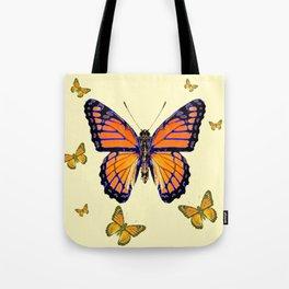 SPRING FLYING ORANGE MONARCH BUTTERFLIES ON CREAM Tote Bag
