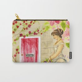 Vintage lady red pink green watercolor flowers Carry-All Pouch
