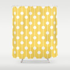 Yellow Lined Polka Dot Shower Curtain