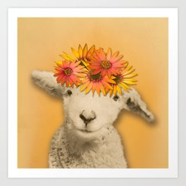 Daisies Sheep Girl Portrait, Mustard Yellow Texturized Background Art Print