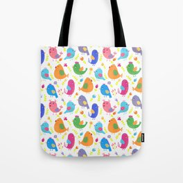 Cute colorful little birds illustration pattern Tote Bag