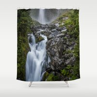 waterfall Shower Curtains featuring Waterfall. by Michelle McConnell