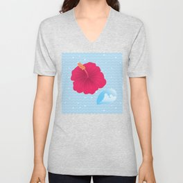 Hibiscus and Thunderhead reflected on the wave_R Unisex V-Neck