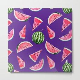Watermelon Pattern with Purple Background Metal Print