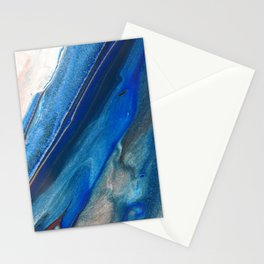 Dark Blue Flow II - Blue Striped Fluid Pour Painting Metallic Stationery Cards