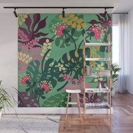 Purple Jungle Pattern - Kitschy Colorful Monstera and Palm Leaves Wall Mural