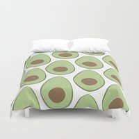 avocado Duvet Covers featuring Avocado by LEIGH ANNE BRADER