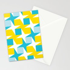 Orange & turquoise blue stars & squares geometric pattern Stationery Cards