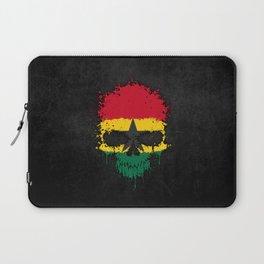 Flag of Ghana on a Chaotic Splatter Skull Laptop Sleeve