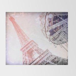 Shimmering Pink Paris Memories Throw Blanket