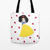 snow white Tote Bags featuring Snow White by Paint Me Pink