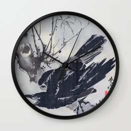 Crow On A Branch - Digital Remastered Edition Wall Clock