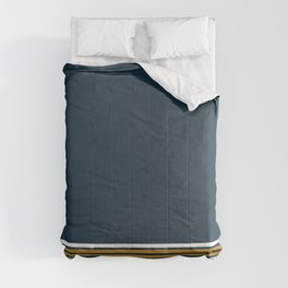 Stripe Cuff - Solid Minimalism in Gray, White, Light Mustard, and Navy Blue Comforters