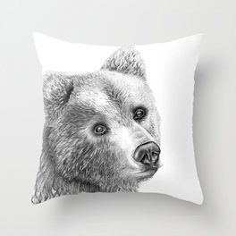 Shaggy Grizzly Bear Throw Pillow
