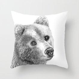 Shaggy Grizzly Bear Throw Pillow
