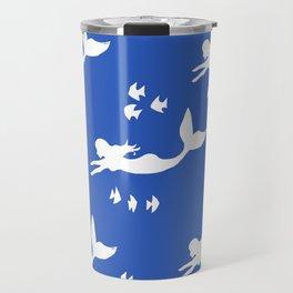 Mermaid Pattern Navy Blue Travel Mug