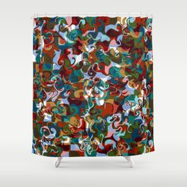 FETE various shapes pale blue gold red abstract design Shower Curtain