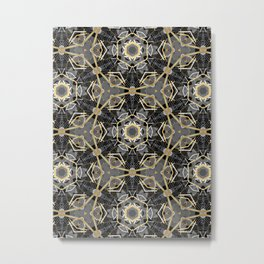 Gray and Gold Abstract Geometric Part VII. Metal Print