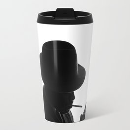 Silhouette of private detective in old fashion hat lights a cigarette Travel Mug