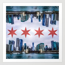 Chicago Skyline Flag Art Print