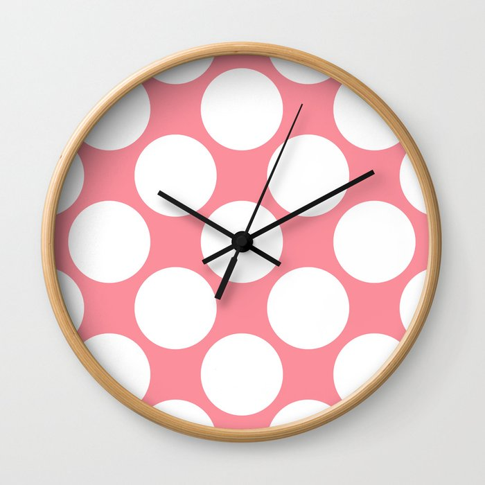 Polka Dots Pink Wall Clock