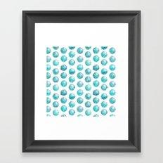 Sketchy dots - teal Framed Art Print