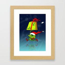 Christmas Elf Bringing a Gift Framed Art Print
